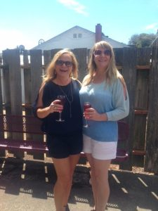 Joelle and her sister, Jan, enjoying mimosas