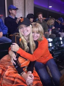 Penny and Kourtney enjoying a Giants game